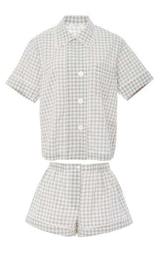 Medium araks plaid organic cotton gingham shirt and shorts pajama set