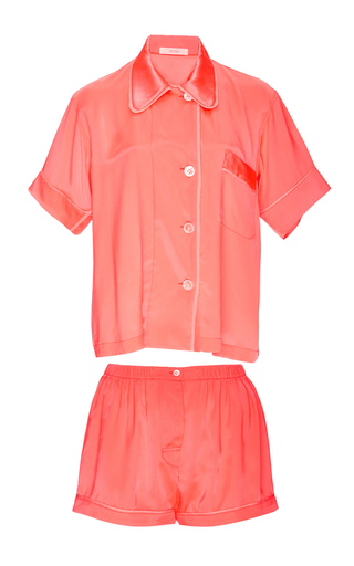 Medium araks pink silk coral shirt and shorts pajama set