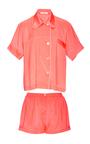 Silk Coral Shirt And Shorts Pajama Set by ARAKS Now Available on Moda Operandi