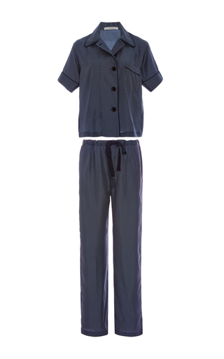 Medium araks navy navy silk polka dot pajama set