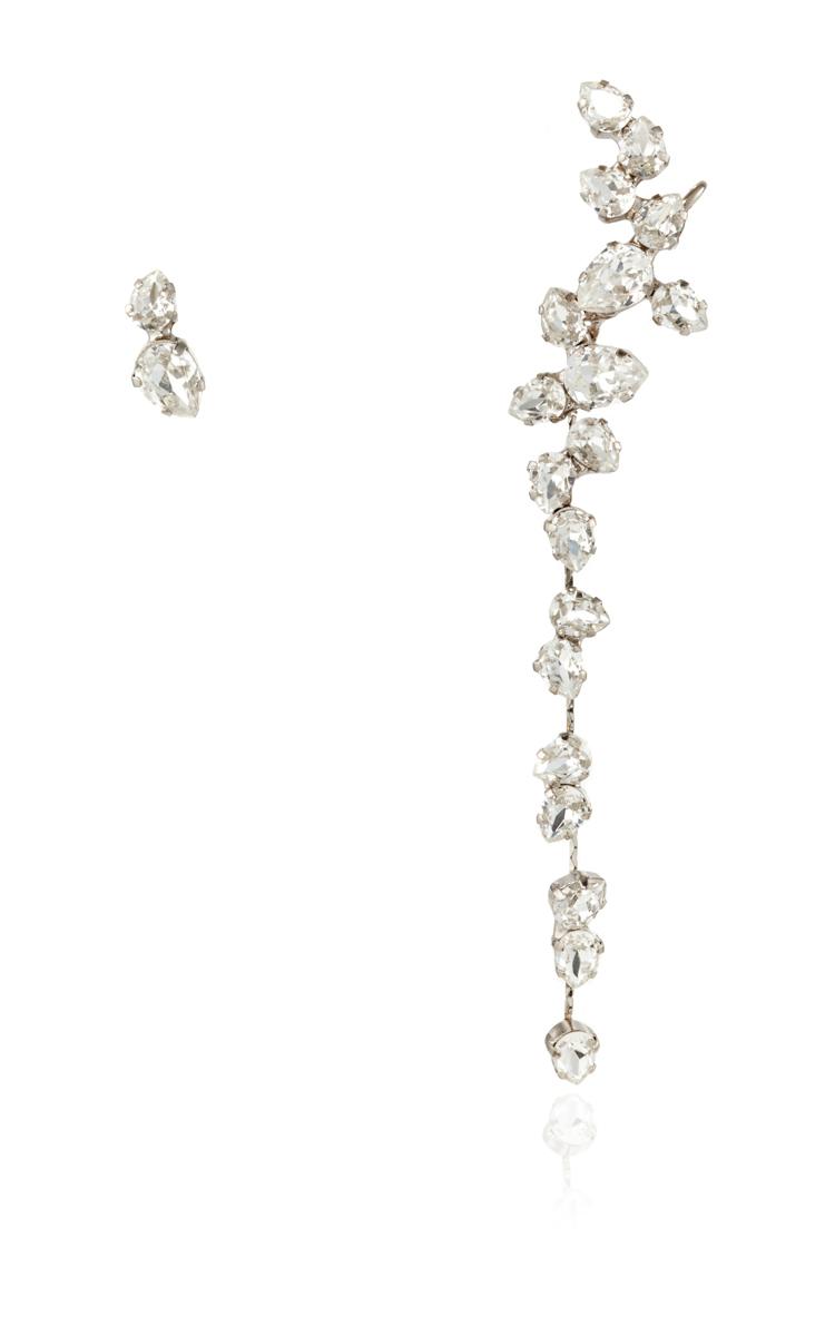 Rhodium Plated Swarovski Crystal Drop Ear Cuff With Moda