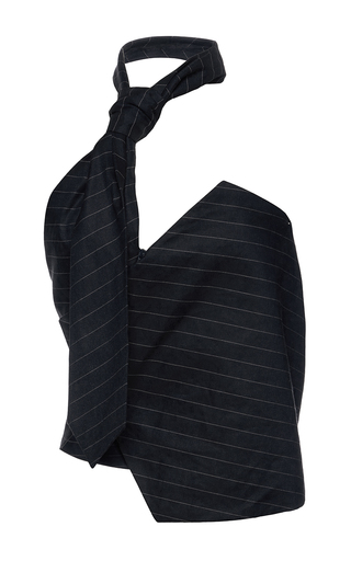 Medium jacquemus navy linen tie top