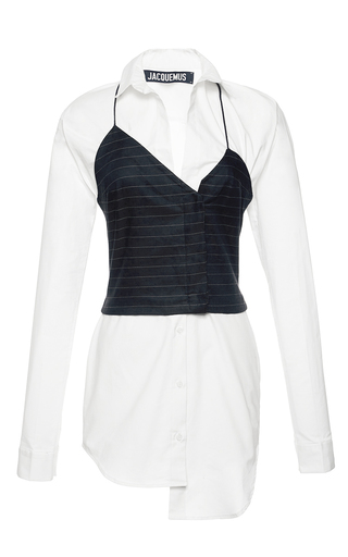 Medium jacquemus white white shirt with navy striped top