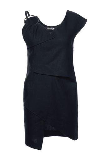 Medium jacquemus navy linen asymmetrical loop dress