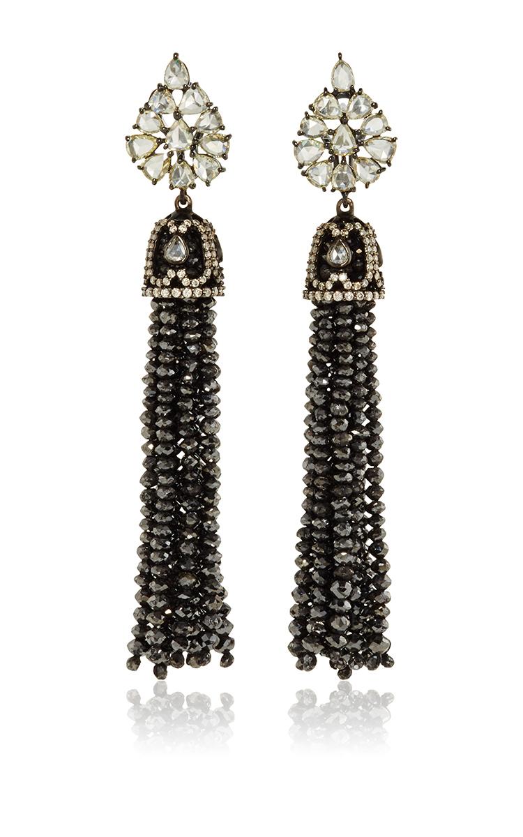 Black Diamond Bead Chandelier Earrings Close Loading