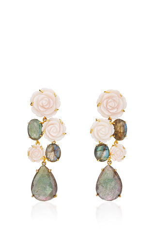 Medium bounkit multi mother of pearl carved rose and labradorite drop earrings