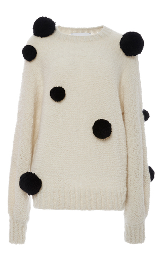 Medium spencer vladimir print cashmere and silk mariko pom pom sweater