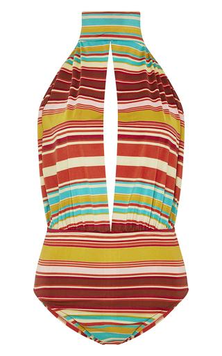 Medium salinas brown striped keyhole one piece swimsuit
