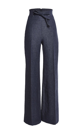 Medium martin grant navy high waisted linen wool pants with leather detailing
