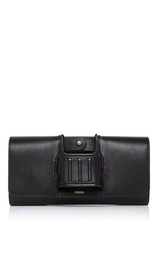 Medium perrin black black leather capitale glove clutch