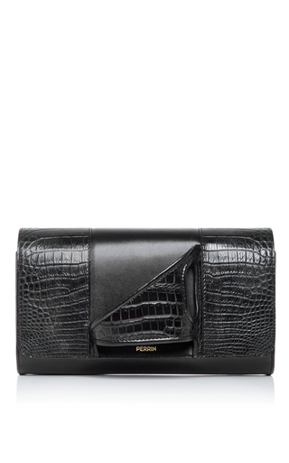 Medium perrin black asymetrique crocodile glove clutch