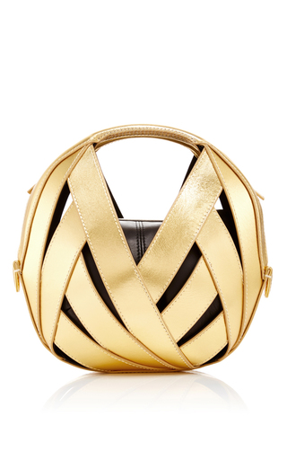 Medium perrin gold gold calfskin riva ball bag in small