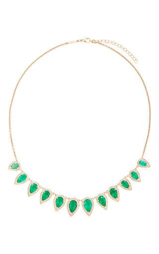 Medium jacquie aiche green antique teardrop emerald bezel necklace
