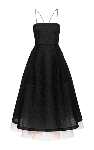 Medium alex perry black malene floral organza strapless midi dress