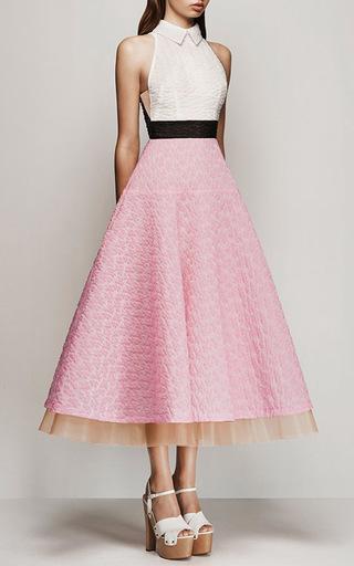 Ornella Floral Organza Halter Midi Dress by ALEX PERRY Now Available on Moda Operandi