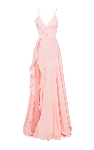 Medium alex perry light pink phoebe satin crepe ruffle gown