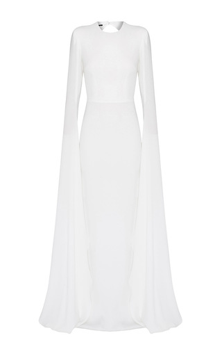 Medium alex perry white courtney satin crepe long sleeve split gown