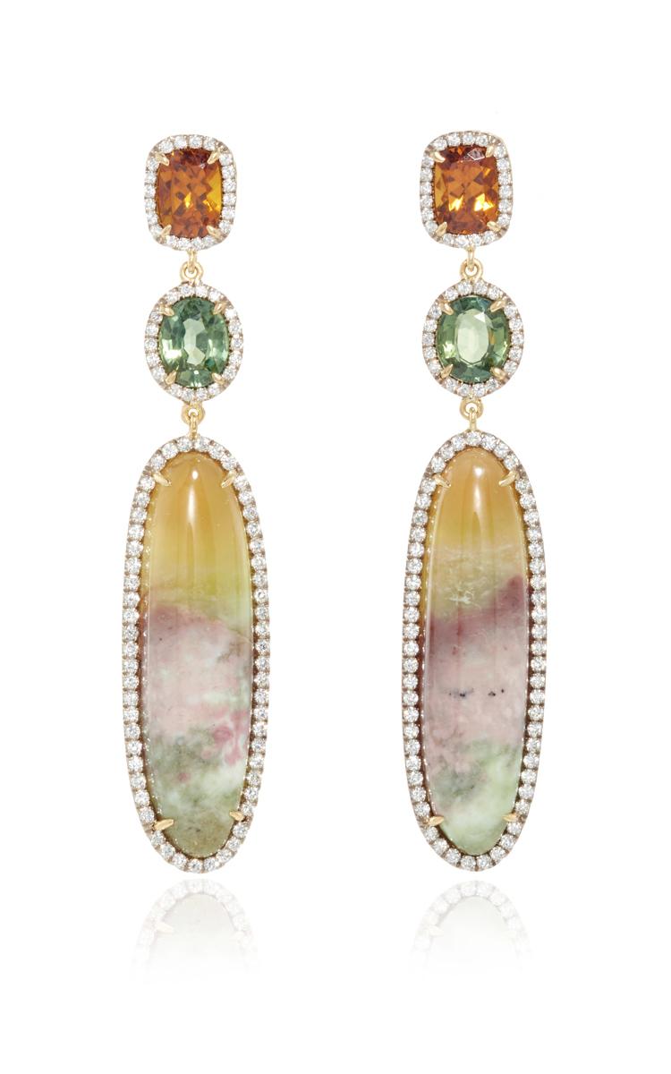 18K Gold Earrings with Hydrogrossular Garnet, Green Sapphires, Grandite  Mali Garnet, and Diamonds