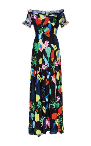 Medium isolda print silk printed off the shoulder carolina dress