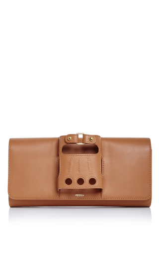 Caramel Leather Cabriolet Glove Clutch by PERRIN PARIS Now Available on Moda Operandi