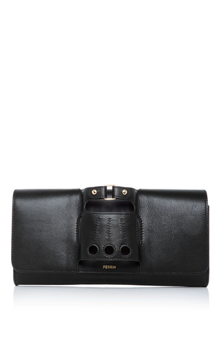Medium perrin black black leather cabriolet glove clutch