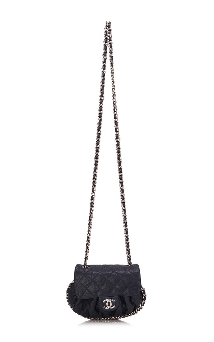 27676db7e935 Chanel Navy Aged Lambskin Chain Around Mini Cross body | Moda Operandi