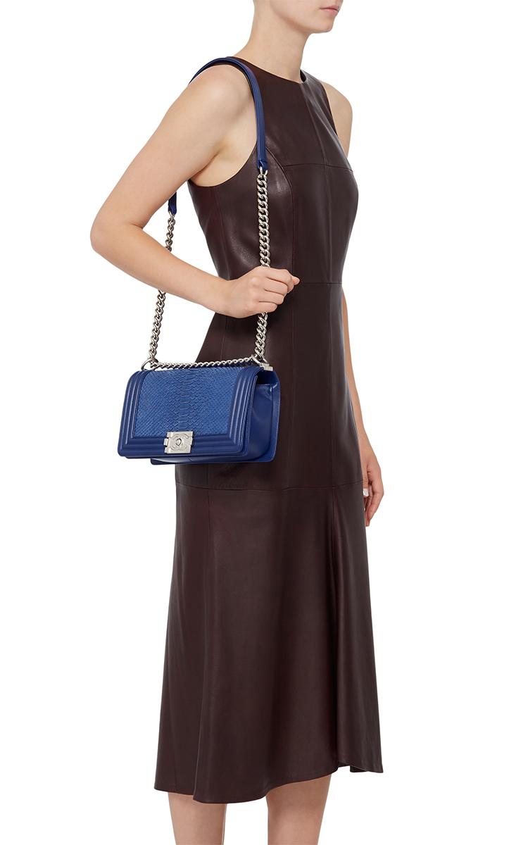 3cda0bafb08c Chanel Blue Python Medium Boy Bag by Hermes Vintage | Moda Operandi