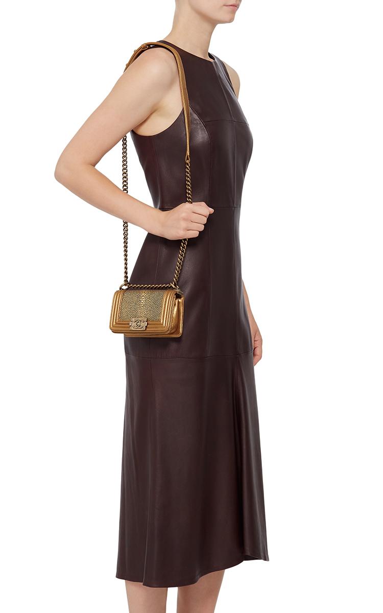 ac7e186eaa8f Hermes VintageChanel Metallic Gold Stingray Mini Boy Bag. CLOSE. Loading