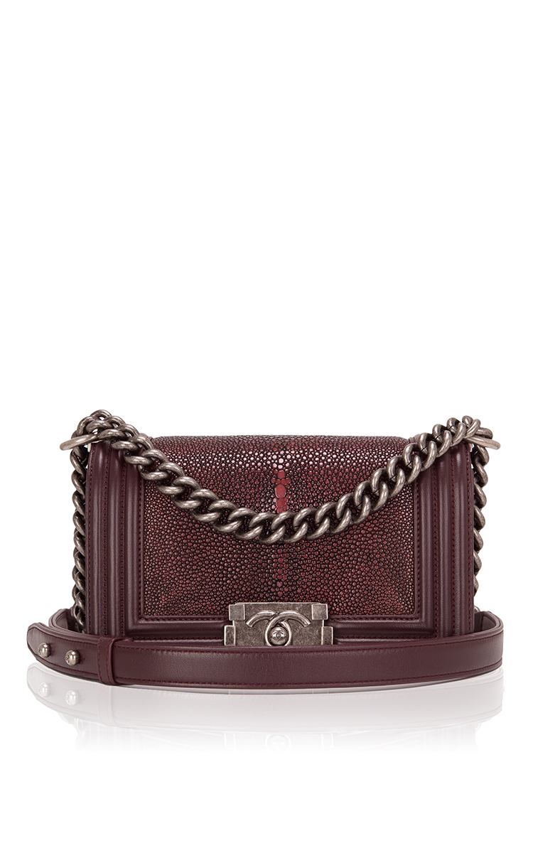 4cb734407e75 Chanel Burgundy Stingray Small Boy Bag by Hermes Vintage | Moda Operandi