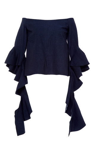Medium ellery navy delores linen off the shoulder blouse