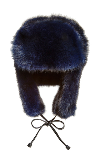 Medium pologeorgis navy navy sable fur trapper hat
