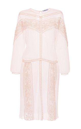 Medium blumarine white long sleeve knit dress with lace details