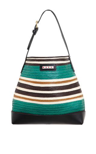 Medium marni multi woven emerald shopping bag