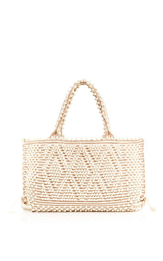 Medium antonello ivory ivory capriccioli tote with diamond motif