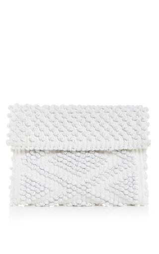Medium antonello white suni cuore metallic clutch