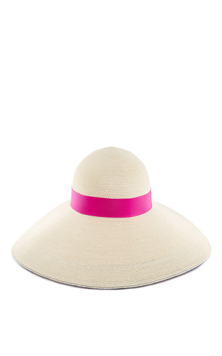 Medium eugenia kim ivory bunny hat with pink stripe