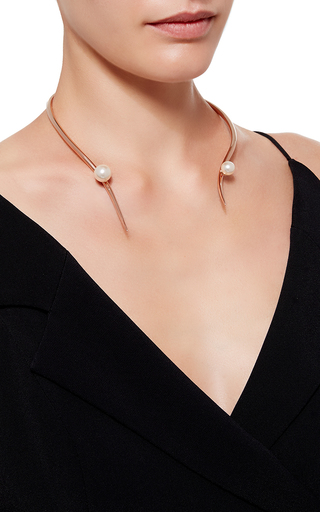 Gold Plated Broken Choker With Swarovski Pearls by RYAN STORER Now Available on Moda Operandi