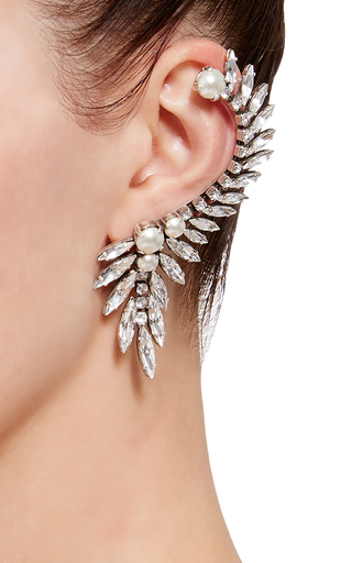 Swarovski Crystal And Pearl Ear Cuff With Single Stud by RYAN STORER Now Available on Moda Operandi