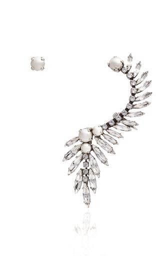 Medium ryan storer silver swarovski crystal and pearl ear cuff with single stud