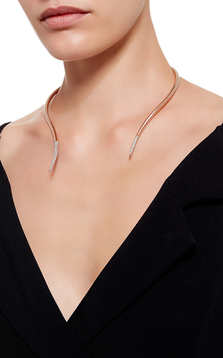 Gold Plated Broken Choker With Pave Tip by RYAN STORER Now Available on Moda Operandi