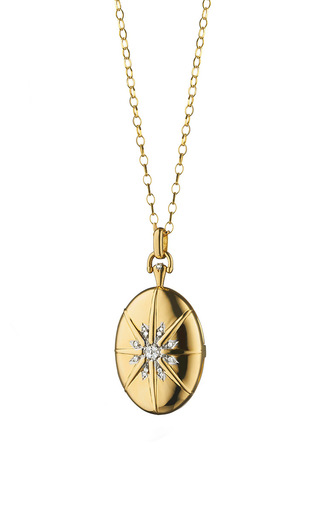 Medium monica rich kosann gold 18k gold diamond star burst 4 image locket
