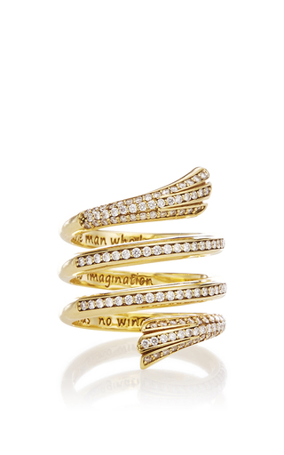 Medium monica rich kosann gold diamond pave mercury wrap ring