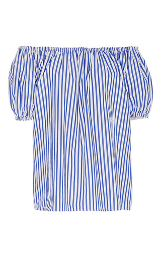 Blue And White Cotton Striped Short Sleeve Peasant Top by MDS STRIPES Now Available on Moda Operandi