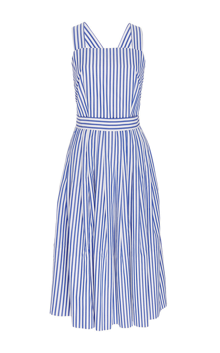 blue and white cotton striped cross back dressmds