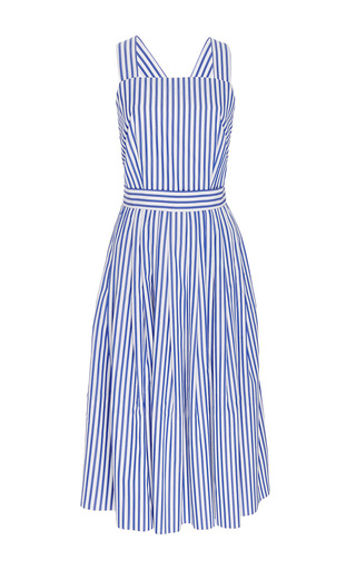 Medium mds stripes blue blue and white cotton striped cross back dress