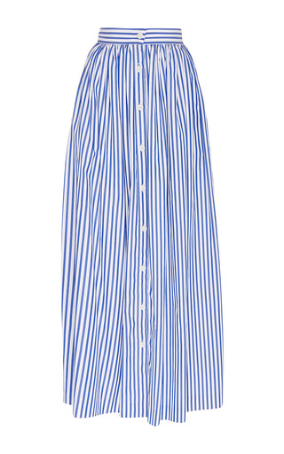 Blue And White Cotton Striped Button Front Skirt by MDS STRIPES Now Available on Moda Operandi