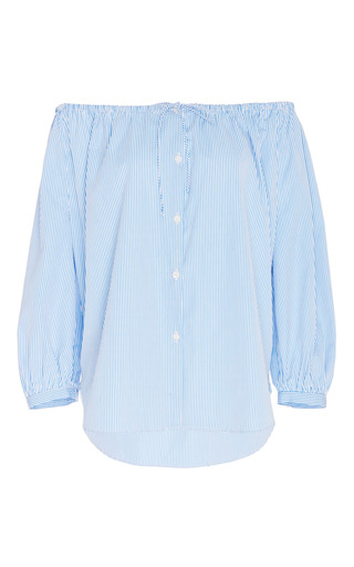 Medium mds stripes blue long sleeve peasant top
