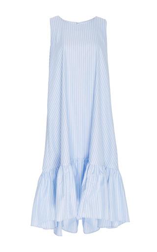 Medium mds stripes blue blue and white striped dress with ruffled hem