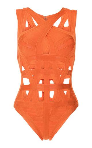 Medium herve leger orange cross front bandage one piece swimsuit