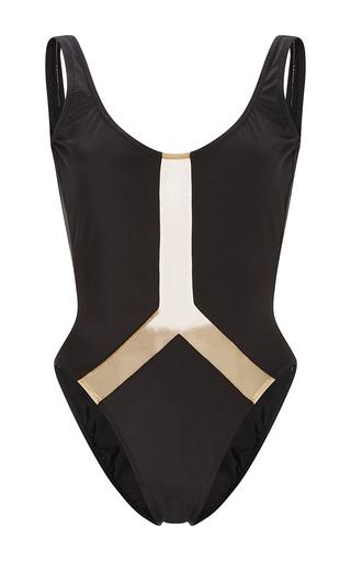 Medium norma kamali black super low back nude insert maillot